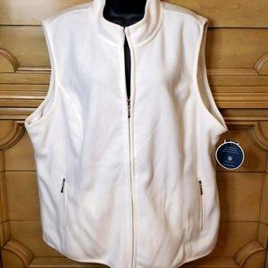 NWT Karen Scott 2X White Fleece Zip Vest